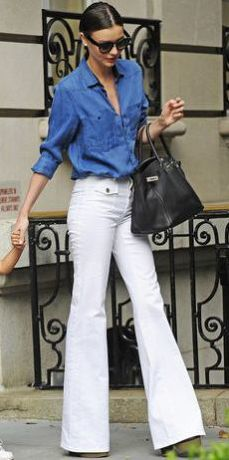 white jeans, white denim, miranda kerr, denim, style
