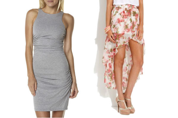 Get The Look For Less: Surf Stitch Isla by Talulah Work It Dress - Grey Marle $41.97, New Look Parisian Floral Chiffon Dip Hem Wrap Skirt $19.99