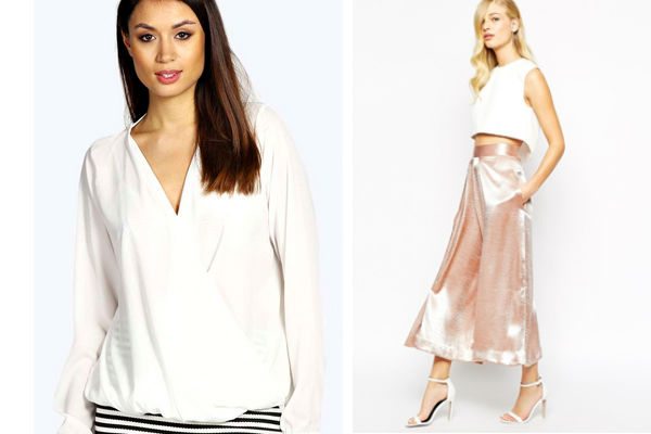 Get The Look For Less: Boohoo Maddie Wrap Front Woven Blouse $32, ASOS Solace London Culotte Trousers in Metallic $221.16