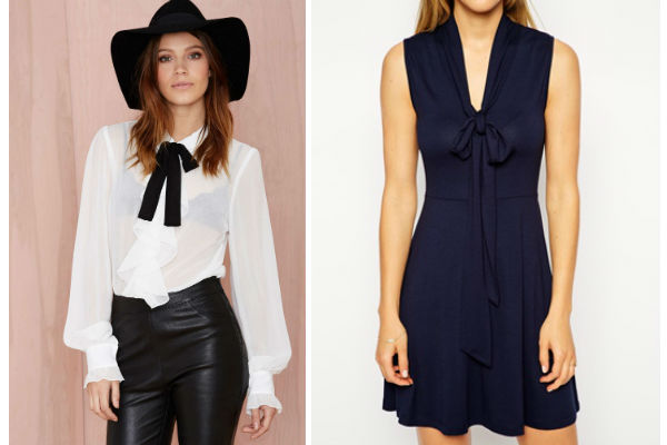 Get The Look For Less: Nasty Gal Poetic License Chiffon Blouse $112.98, ASOS PETITE Skater Dress with Pussy Bow $25