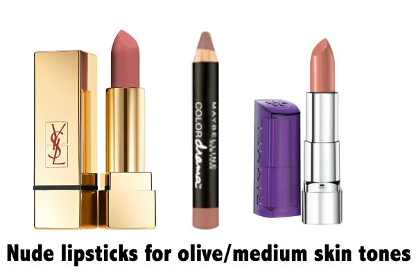 (L-R) YSL Rouge Pur Couture The Mats in 210 Nude Acoustic $52, Maybelline Color Sensational Color Drama Lipstick in Nude Perfection $9.95, Moisture Renew Lipstick in Notting Hill Nude  $13.95