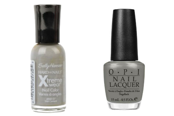 Sally Hansen Hard as Nails Xtreme Wear in Wet Cement, OPI Nail Lacquer in Suzi Takes The Wheel