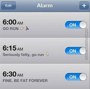Holiday workout, schedule time, alarm