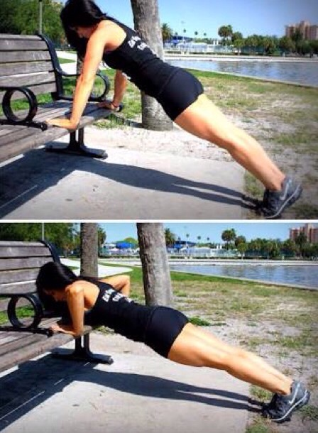 park bench pushups, exercise, HIIT