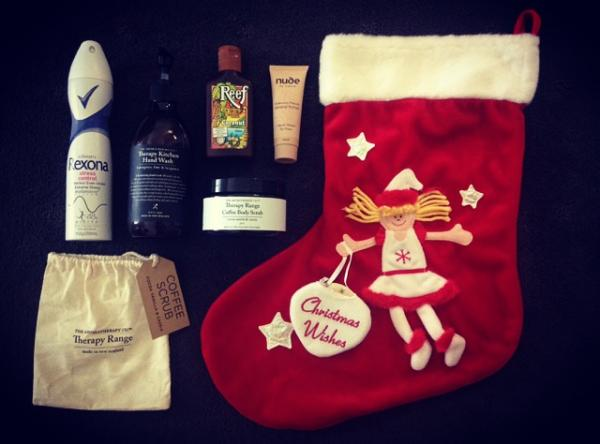 Christmas, stocking, nude by nature, rexona, reefs aromatherapy co